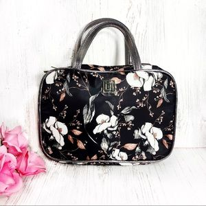 Liz Claiborne black white floral cosmetic bag